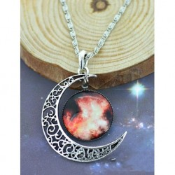 Moon and Red Galaxy Necklace