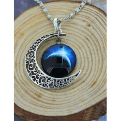 Moon and Galaxy Blue Light Necklace